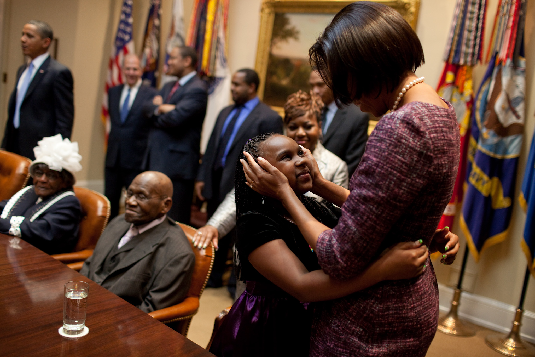 The First Lady Greets a Young Girl on Martin Luther King Day
