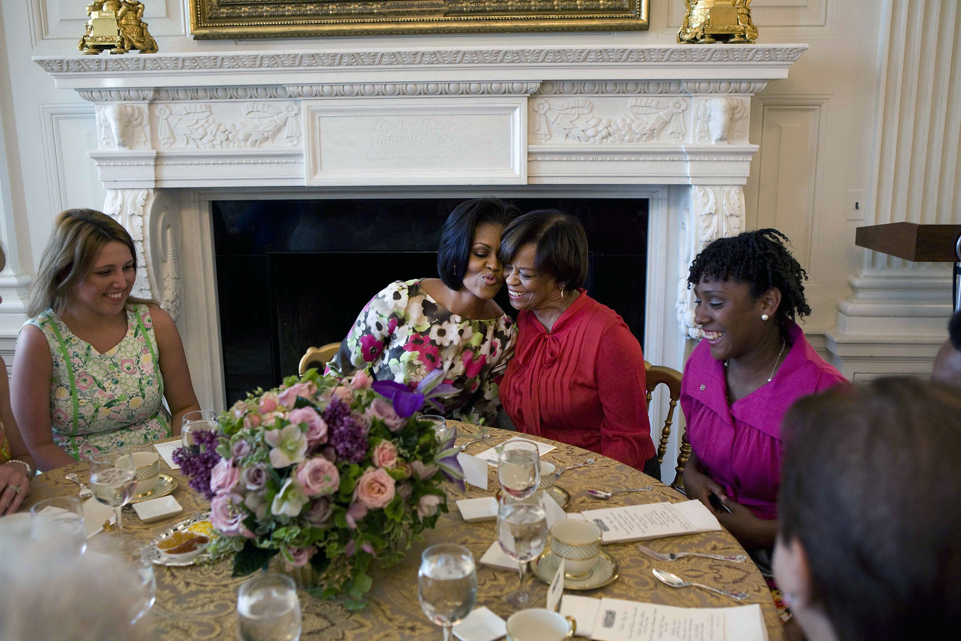 The First Lady Hugs Her Mother at the Mother's Day Tea