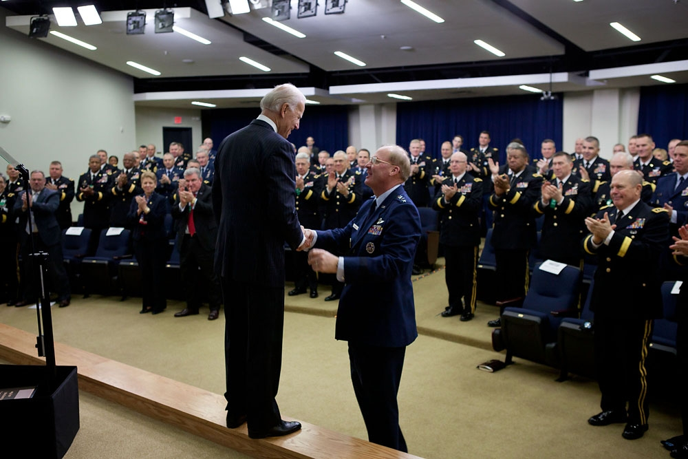 VP Biden shakes hands with General McKinley during National Guard Adjutants General Visit to the White House
