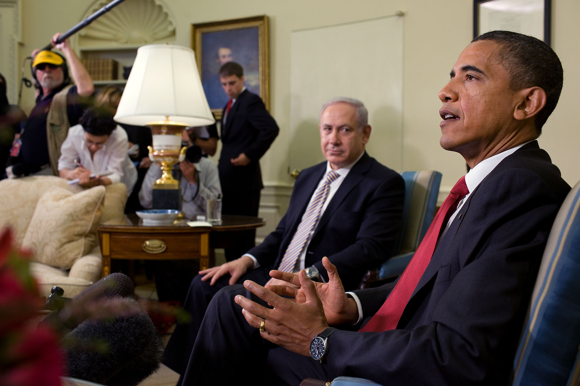 President Barack Obama and Prime Minister Benjamin Netanyahu of Israel Hold a Joint Press Availability in the Oval Office,