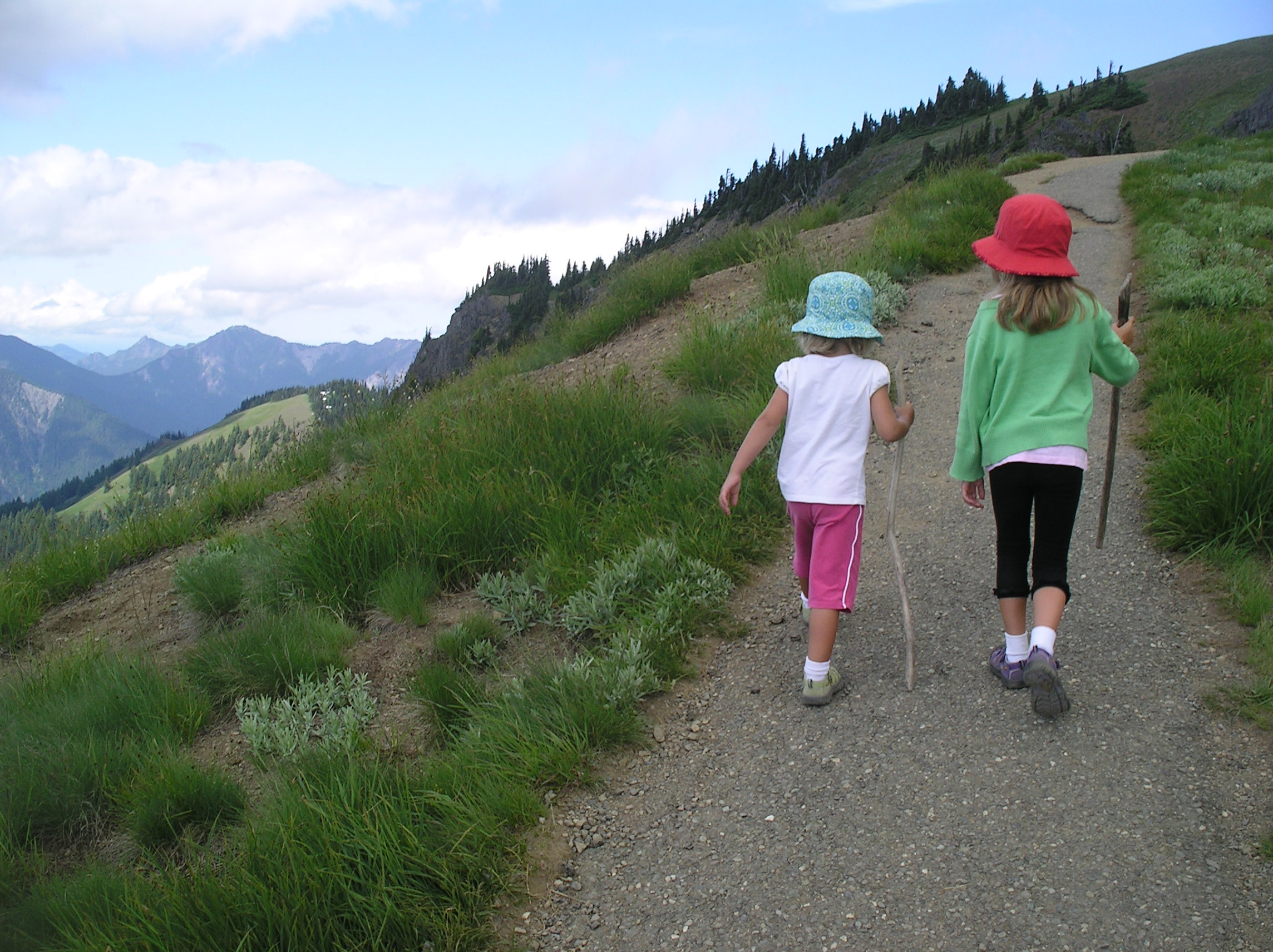 Girls hiking in the Olympic National Park