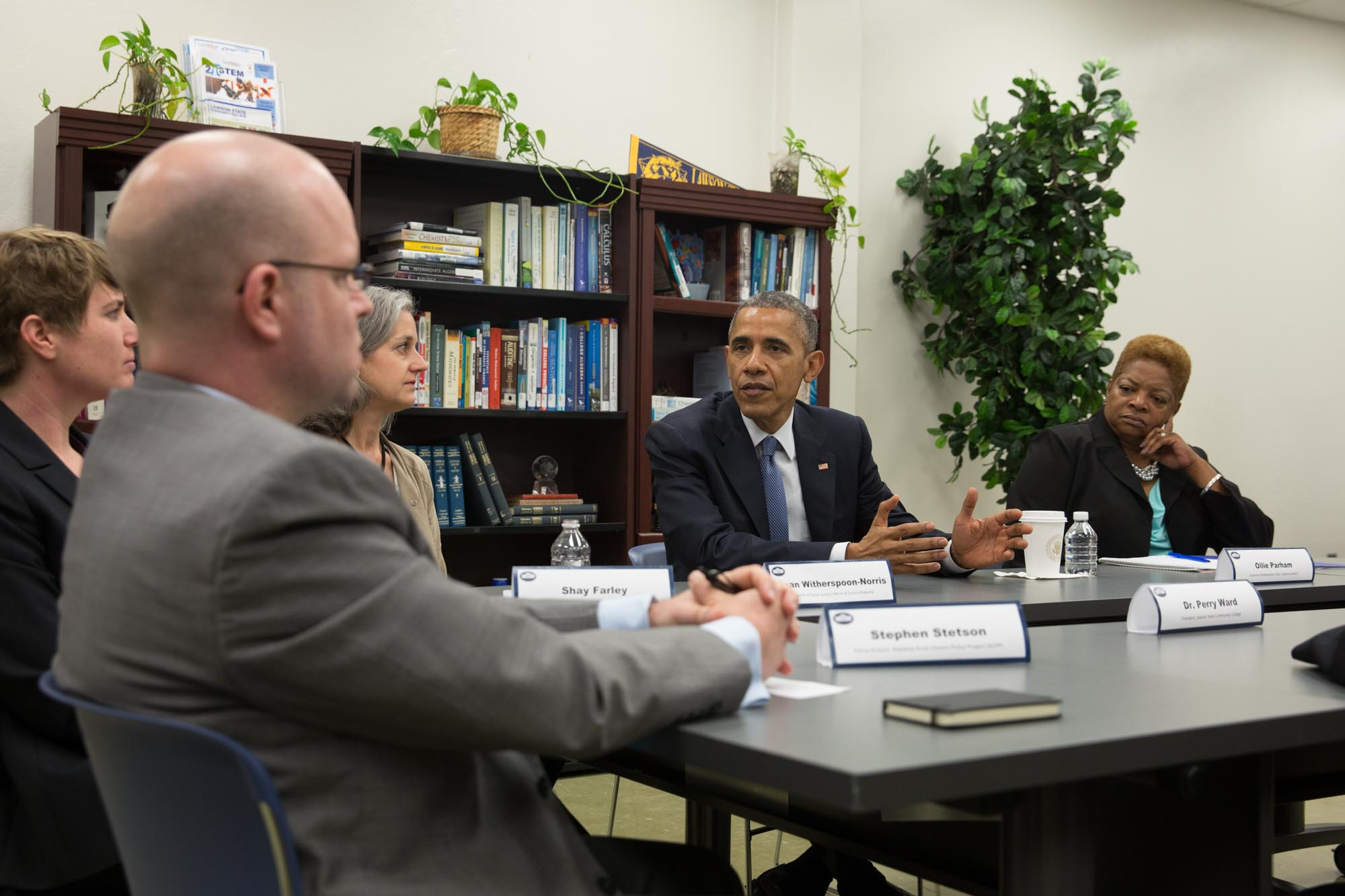 President Obama participates in a roundtable at Lawson State