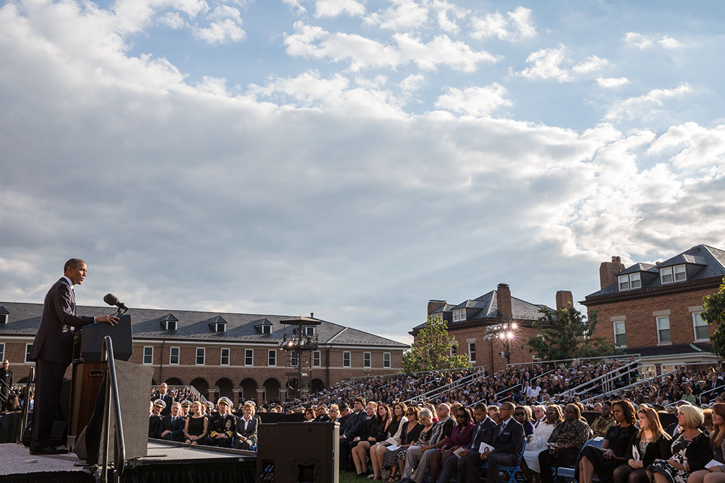 President Barack Obama delivers remarks at a memorial service for victims of the Washington Navy Yard shooting