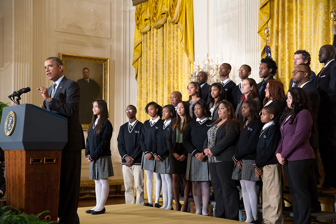 President Barack Obama delivers remarks announcing the first five