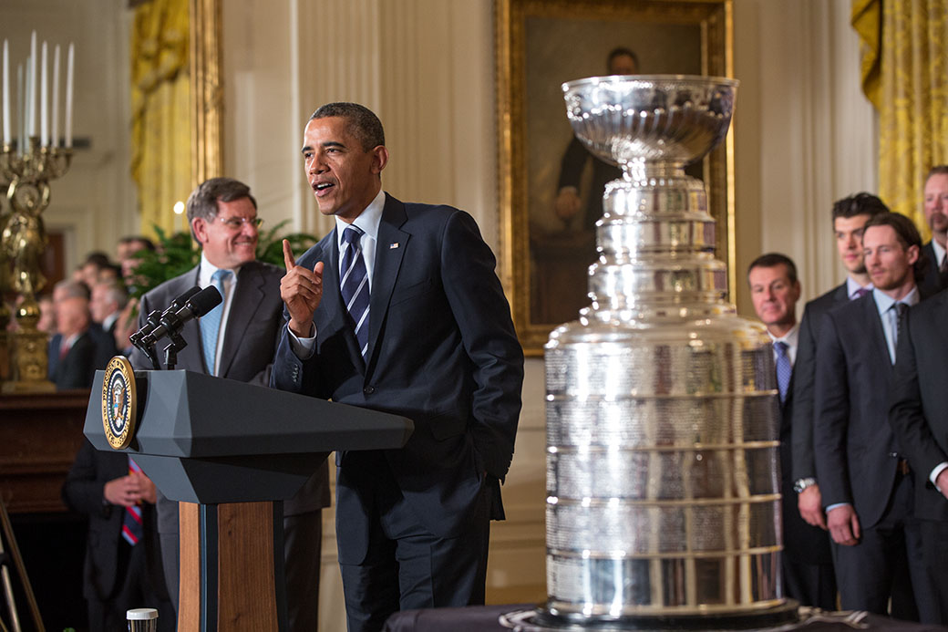 President Barack Obama welcomes the five-time Stanley Cup Champion Chicago Blackhawks to the White Hous