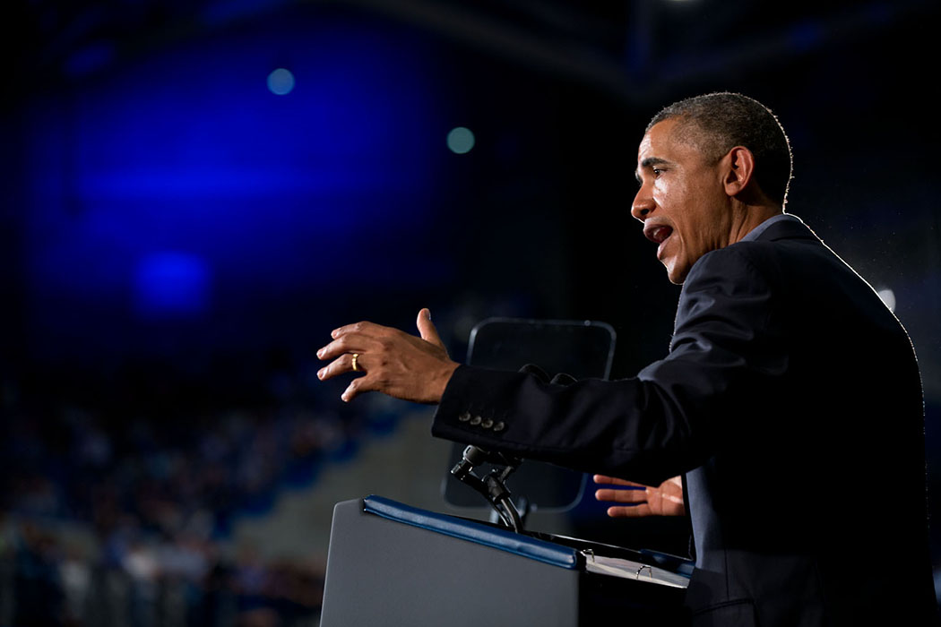 President Barack Obama delivers remarks at the University at Buffalo