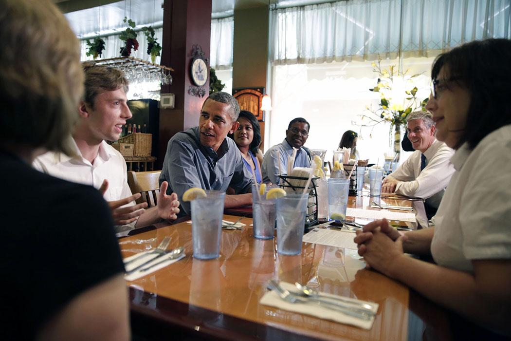 President Barack Obama, with Education Secretary Arne Duncan, meets with college students, recent graduates and educators