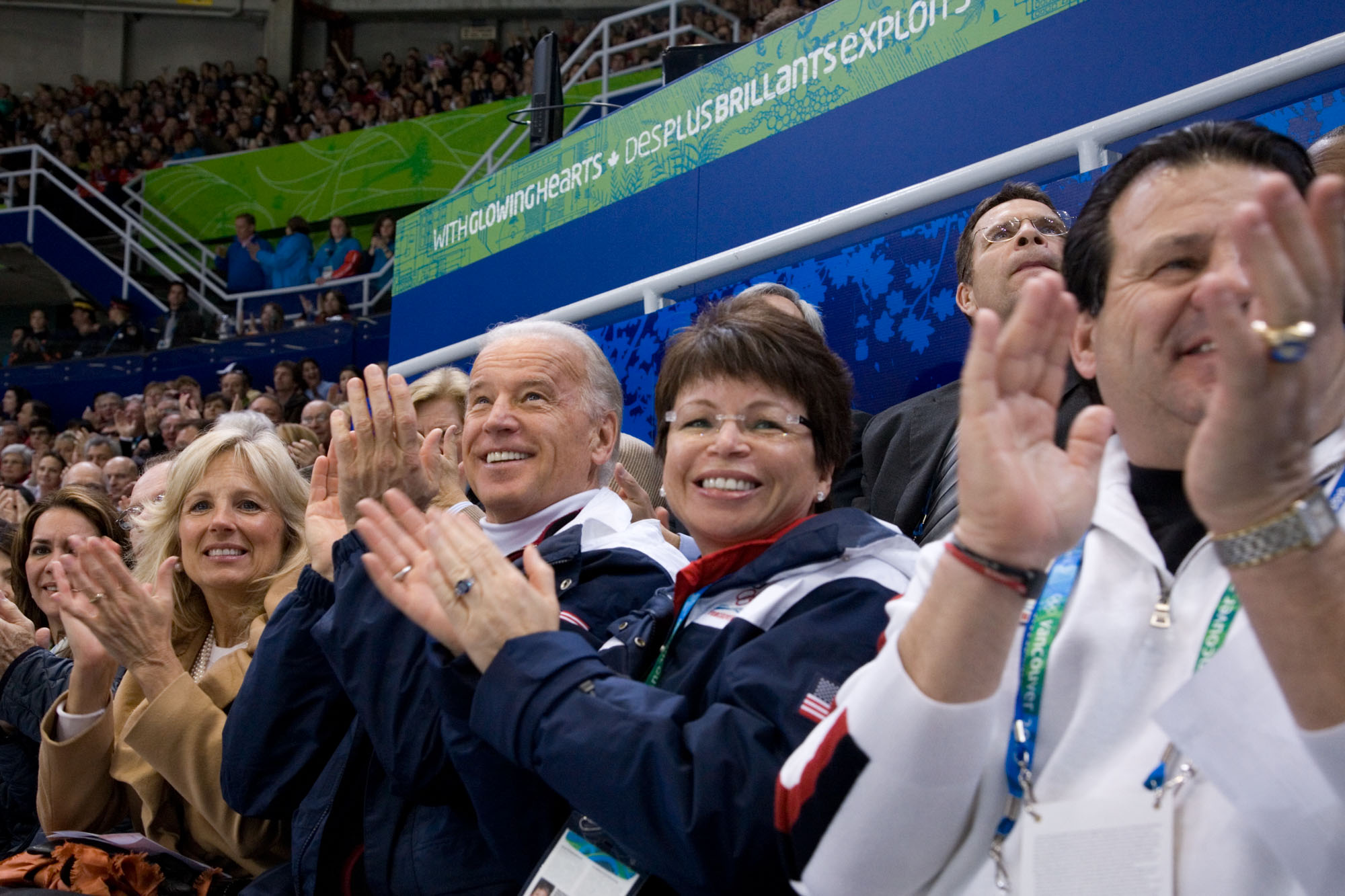 Vice President Biden, Dr. Jill Biden and Valerie Jarrett Applaud the U.S. Olympic Pairs Figure Skaters