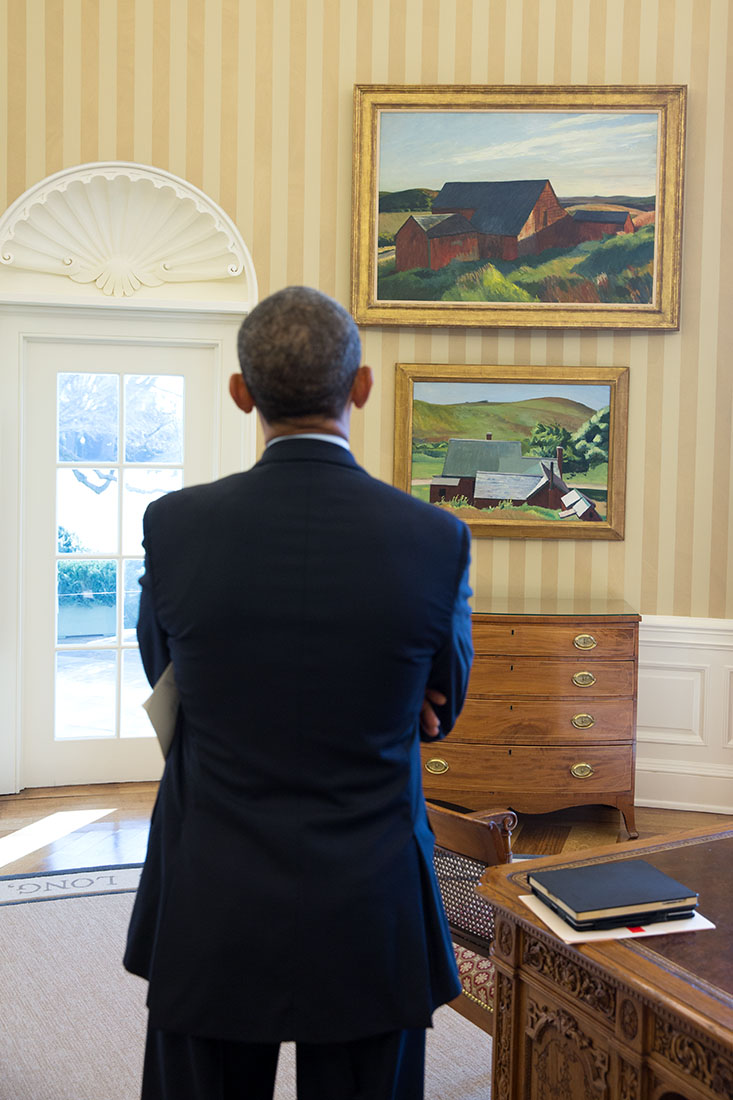 obamas oval office. President Barack Obama Looks At The Edward Hopper Paintings Now Displayed In Oval Office, Obamas Office