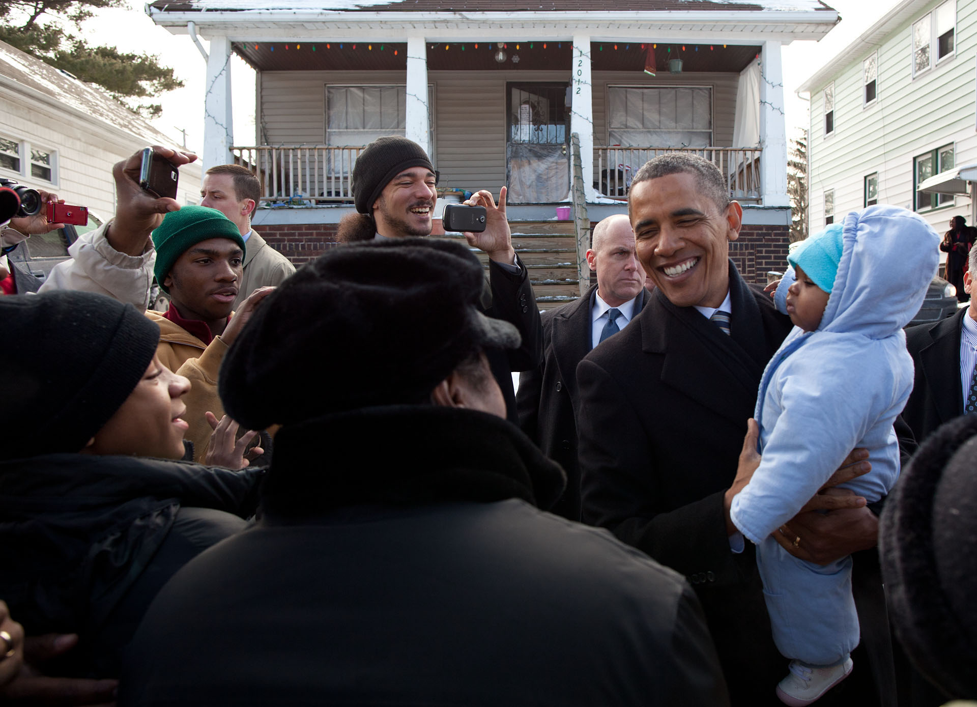 President Obama Outside the Eason Home in Cleveland, Ohio