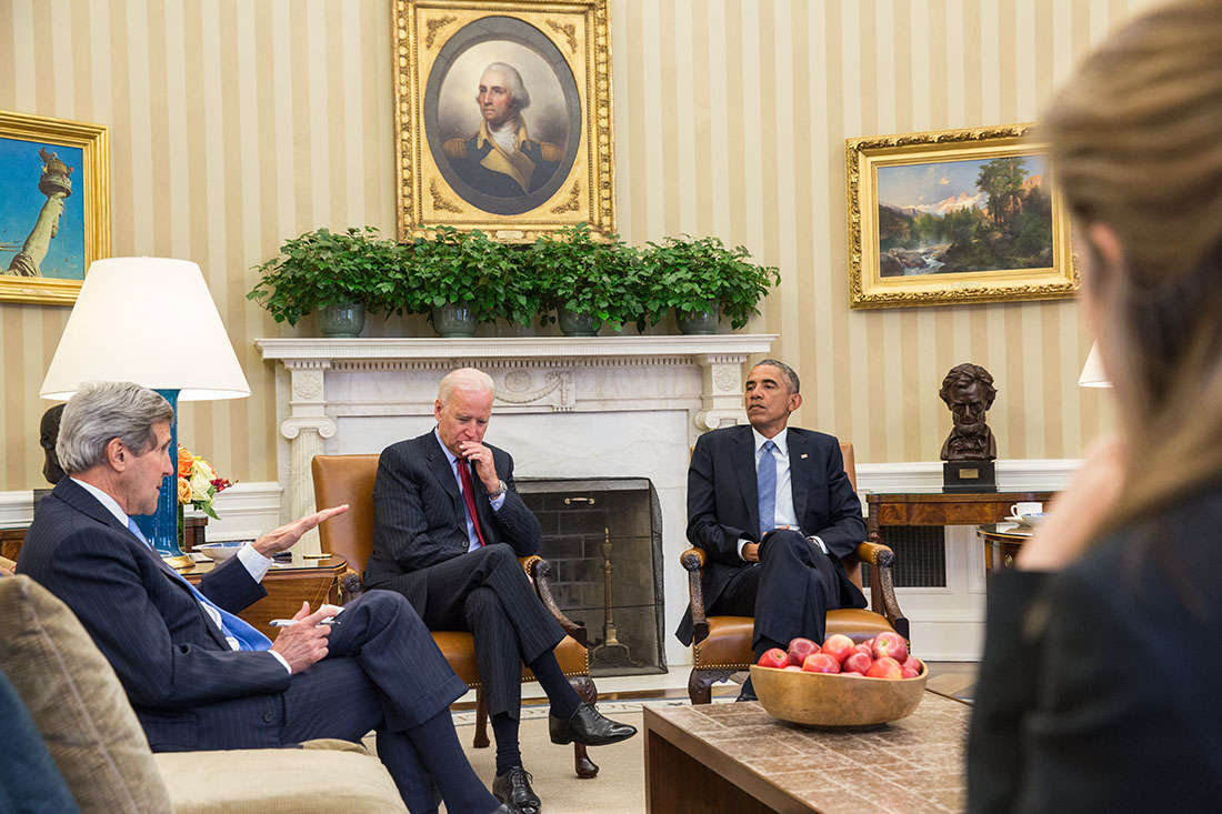 President Obama meets with Vice President Biden and Secretary of State Kerry in the Oval Office
