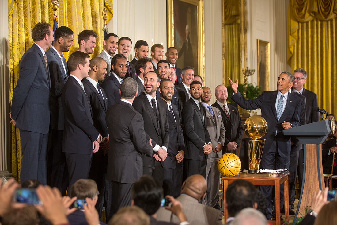 President Obama delivers remarks welcoming the 2014 NBA Champion San Antonio Spurs