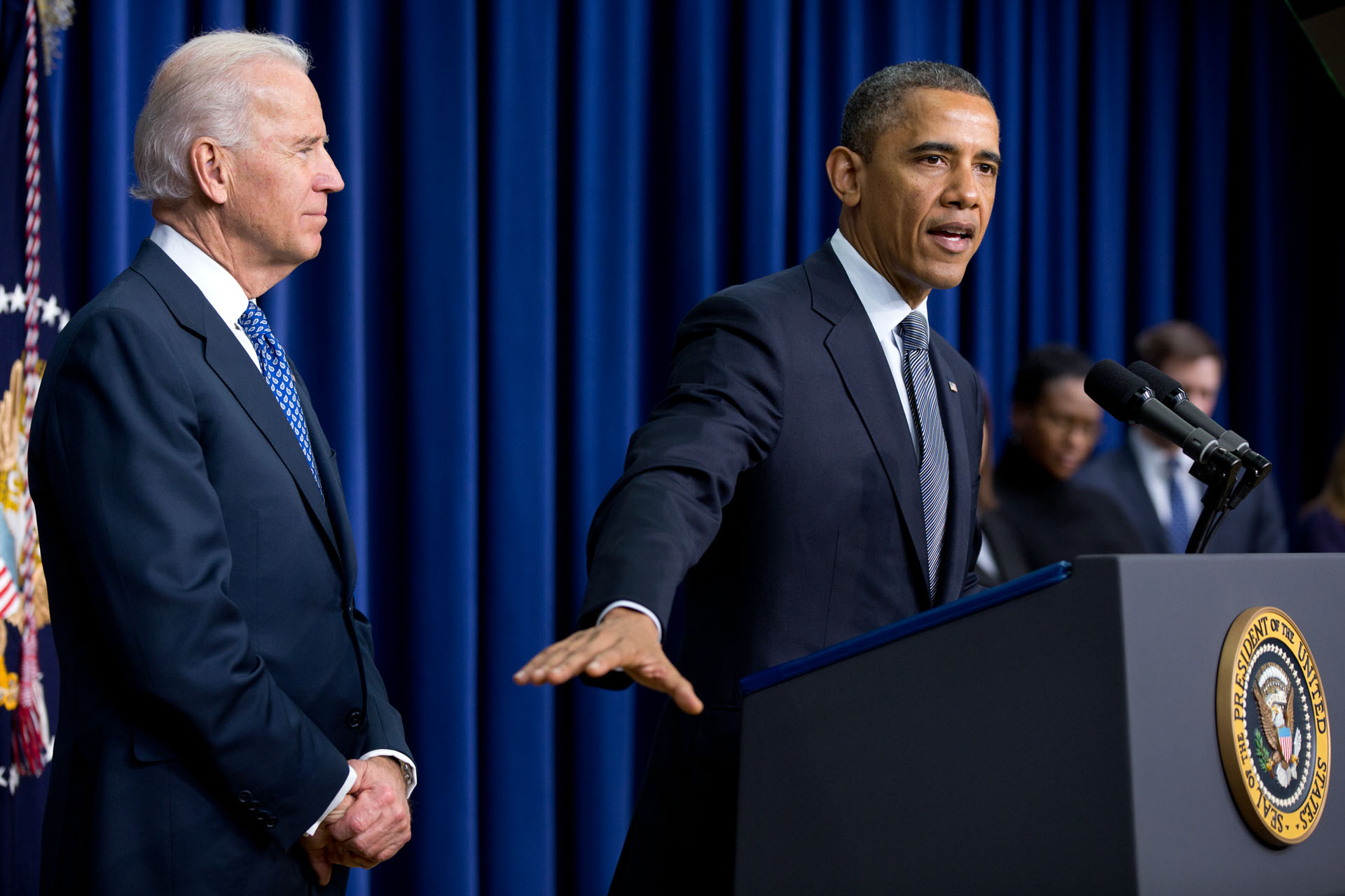 President Barack Obama, with Vice President Joe Biden, delivers remarks unveiling new gun control proposals Jan.16, 2013