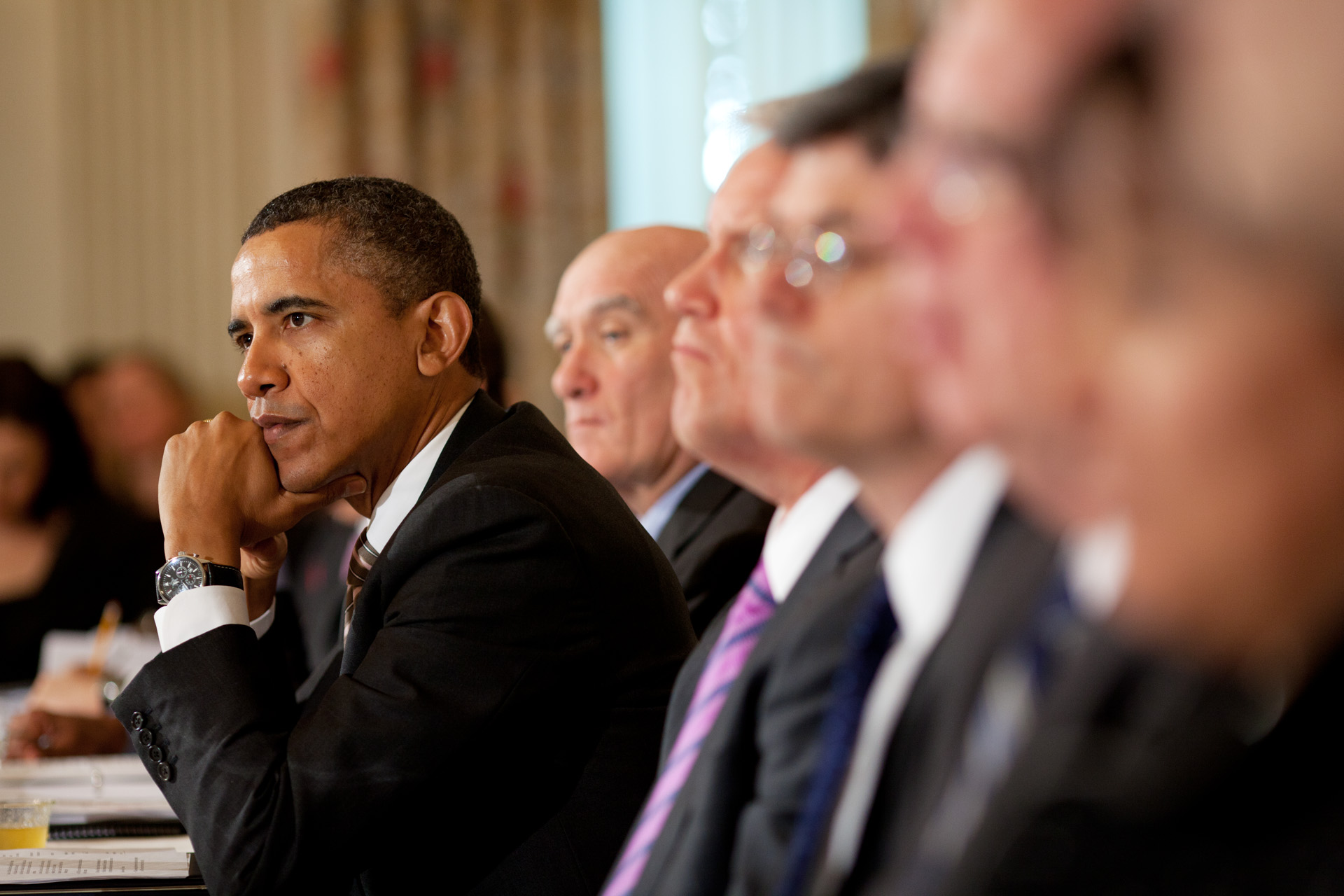 President Barack Obama meets with the Council on Jobs and Competitiveness