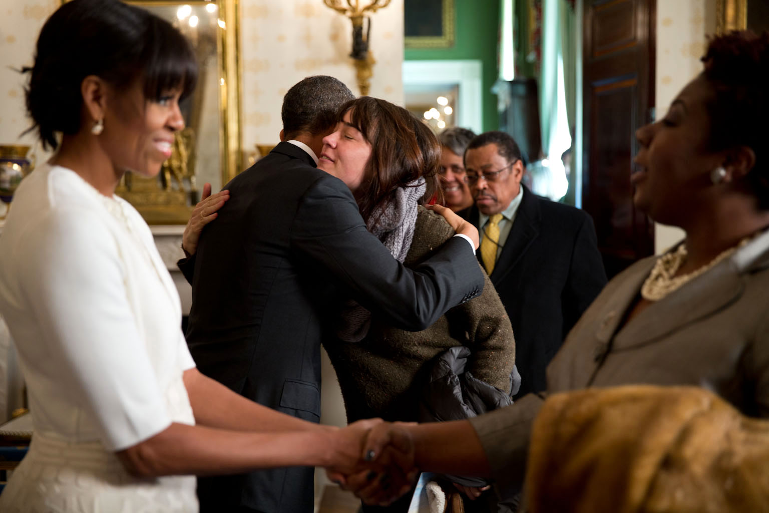 President and Mrs Obama Surprise Guests on a White House Tour, Jan. 22, 2013