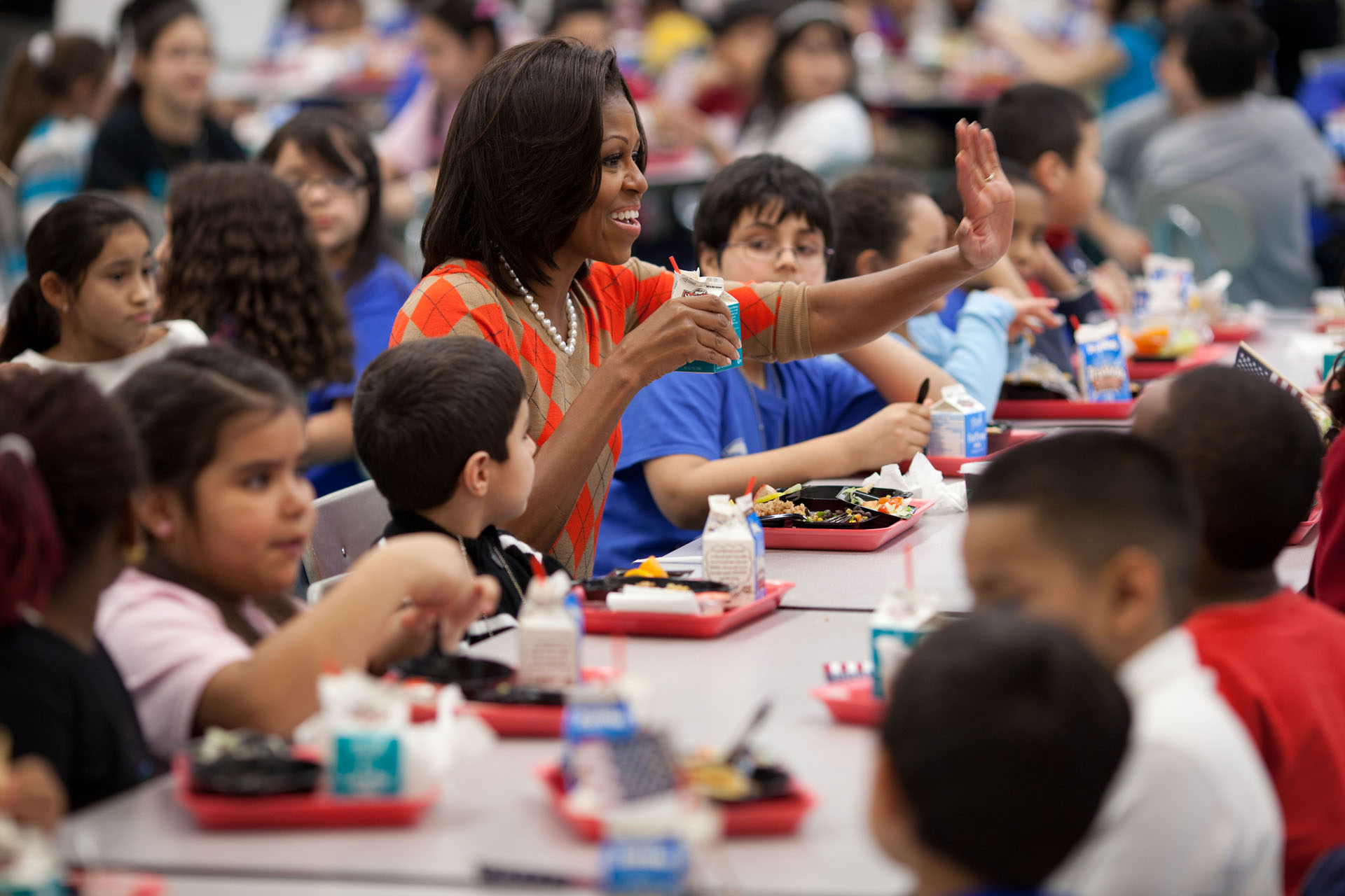 First Lady Michelle Obama has lunch with Parklawn Elementary School students