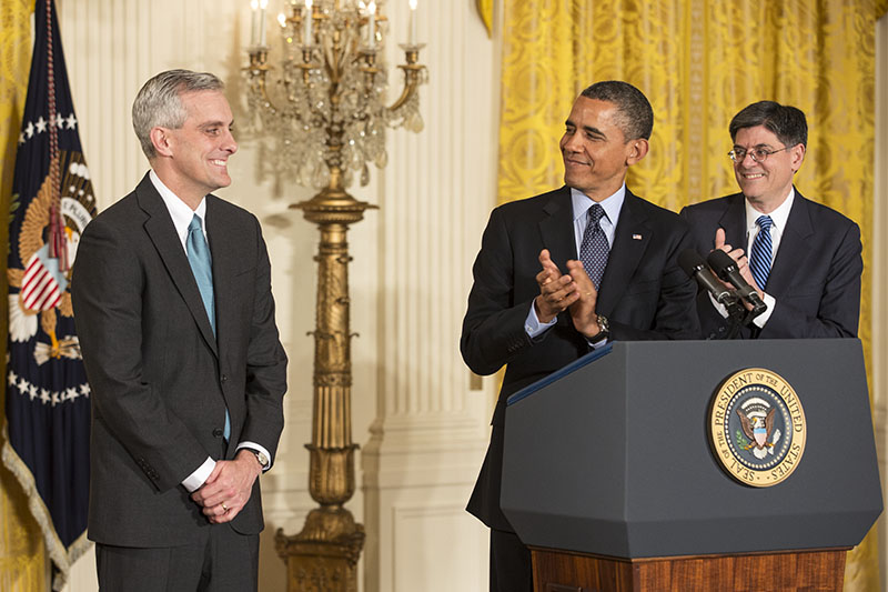 President Barack Obama announces Denis McDonough as his Chief of Staff, Jan. 25, 2013