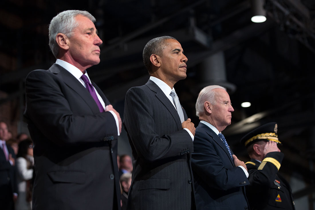 President Obama, Vice President Biden and Gen. Martin Dempsey participate in an Armed Forces farewell in honor of Secretary Hagel