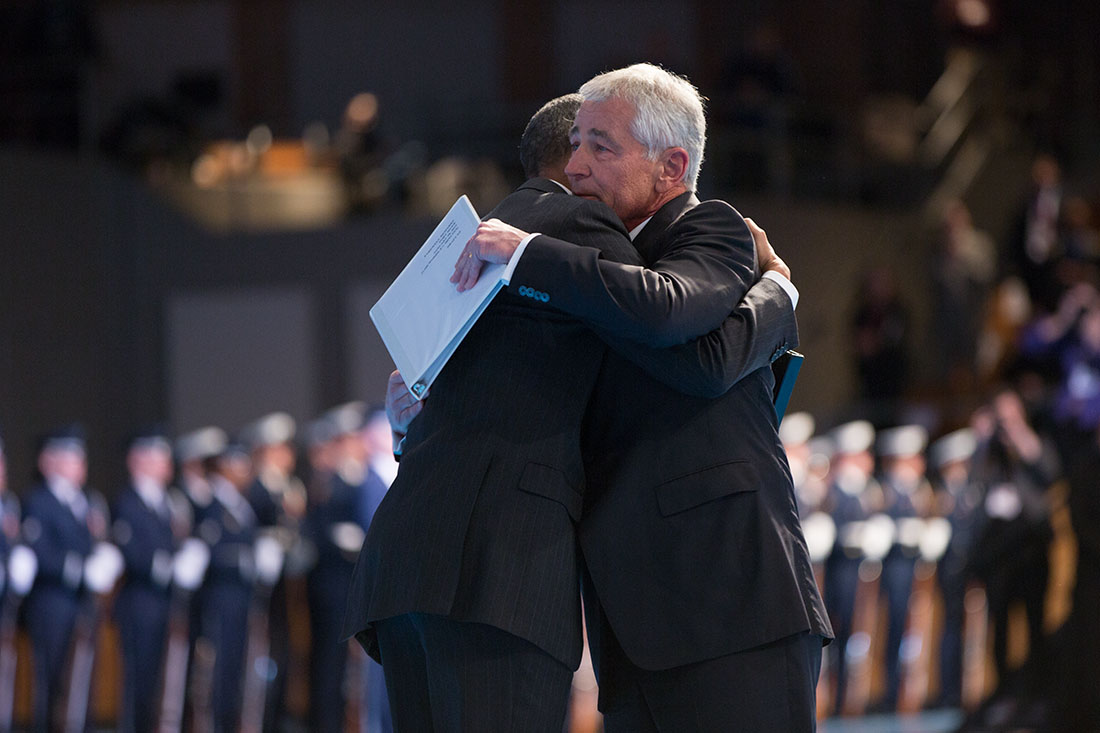 President Obama hugs Secretary Hagel following remarks during an Armed Forces farewell