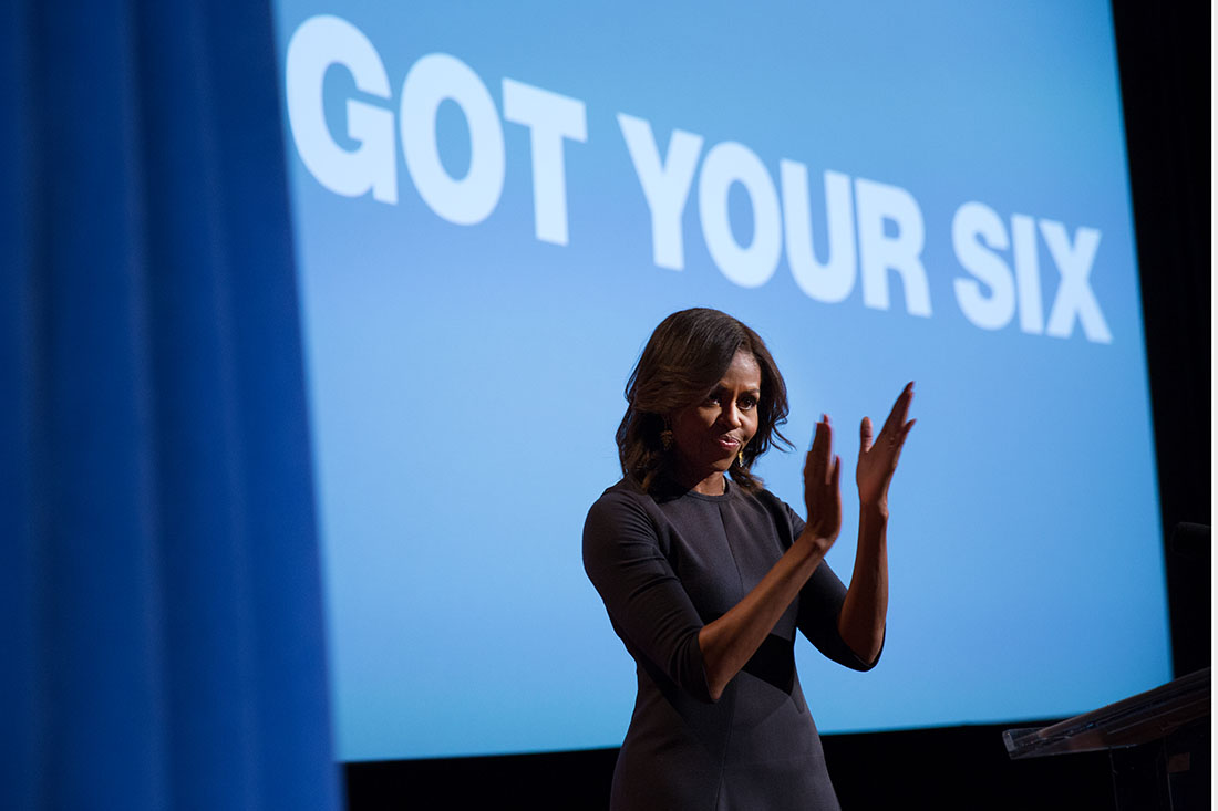 "First Lady Michelle Obama Applauds at ""6 Certified Campaign"" Event"