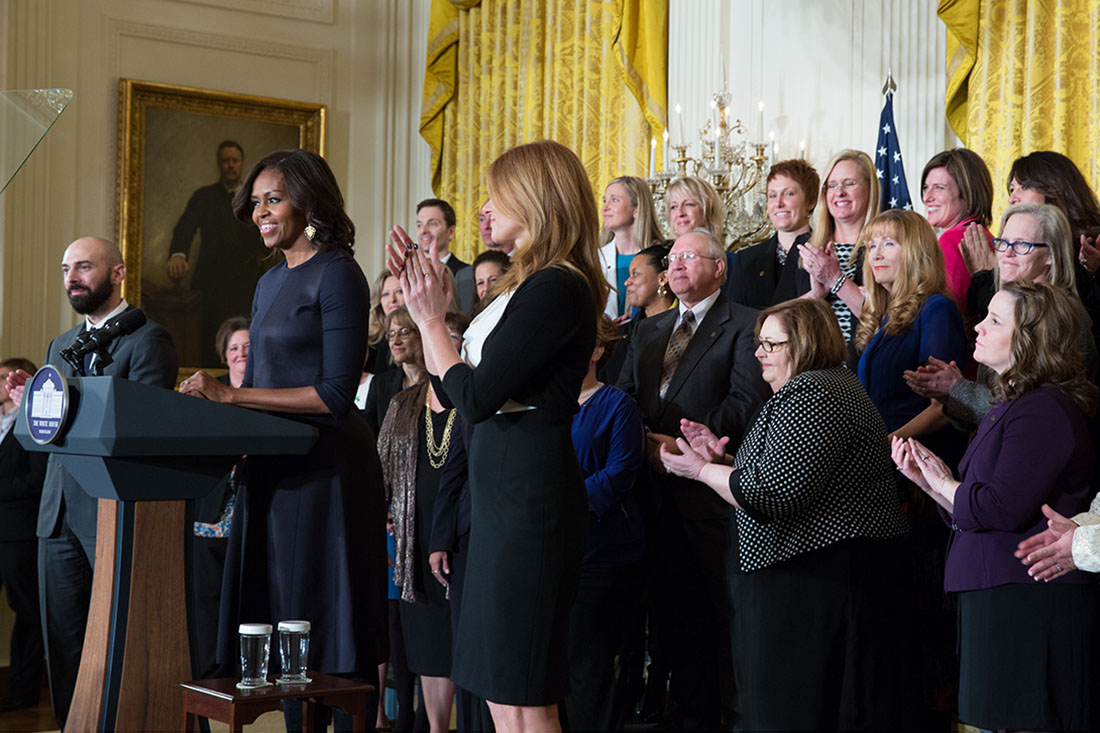 First Lady Michelle Obama delivers remarks during a Counselor of the Year event for Cory Notestine