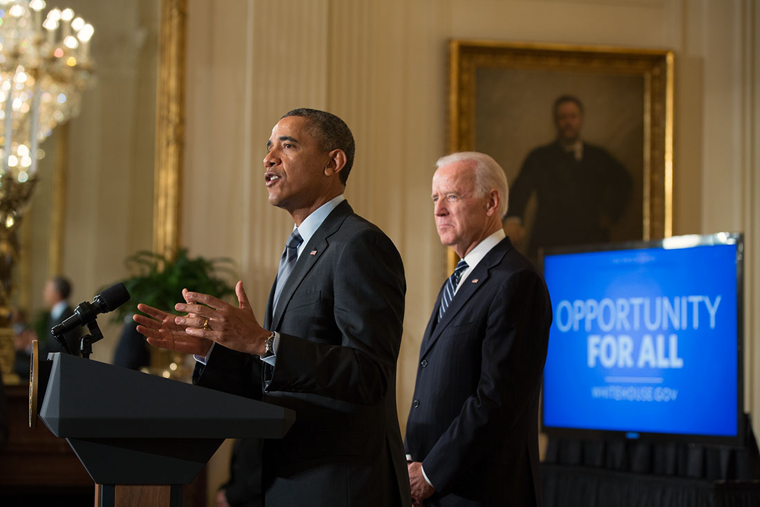 President Barack Obama, with Vice President Joe Biden, delivers remarks at an event to outline new efforts to help the long-term unemployed