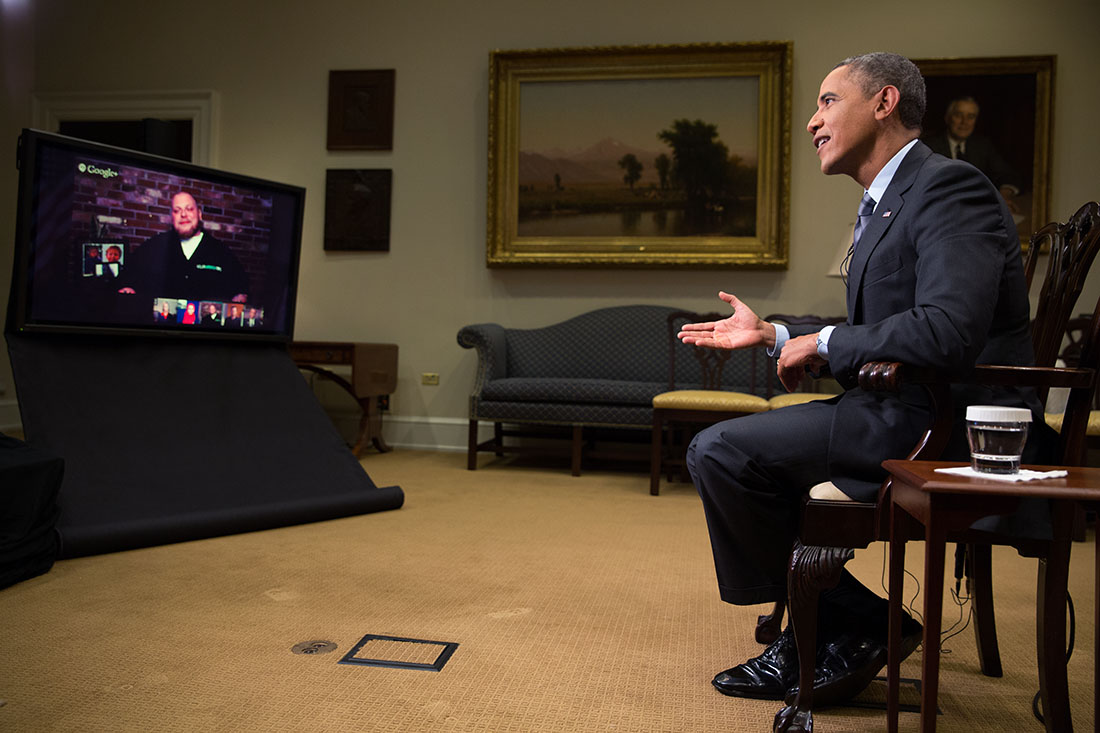 President Barack Obama participates in a virtual road trip across the country via Google+