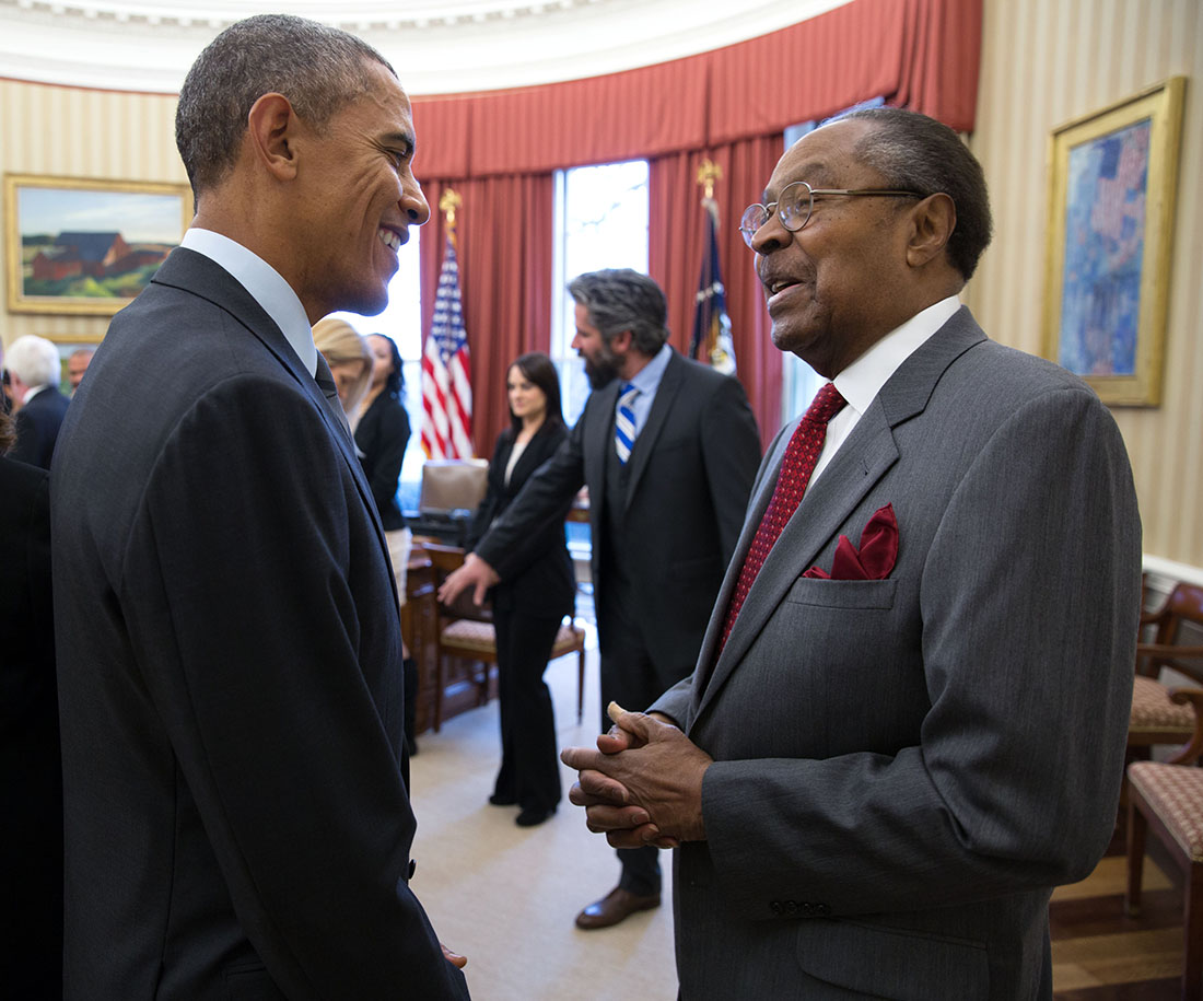 President Barack Obama meets with Clarence Jones