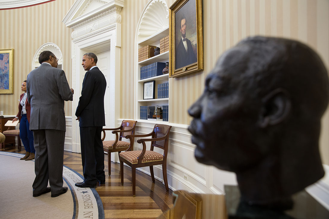 President Barack Obama meets with Clarence Jones (2)