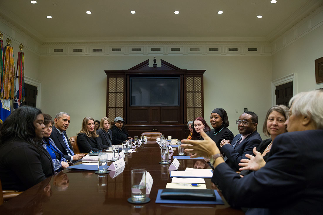President Obama meets with people who have written him letters explaining how they have benefited from the Affordable Care Act
