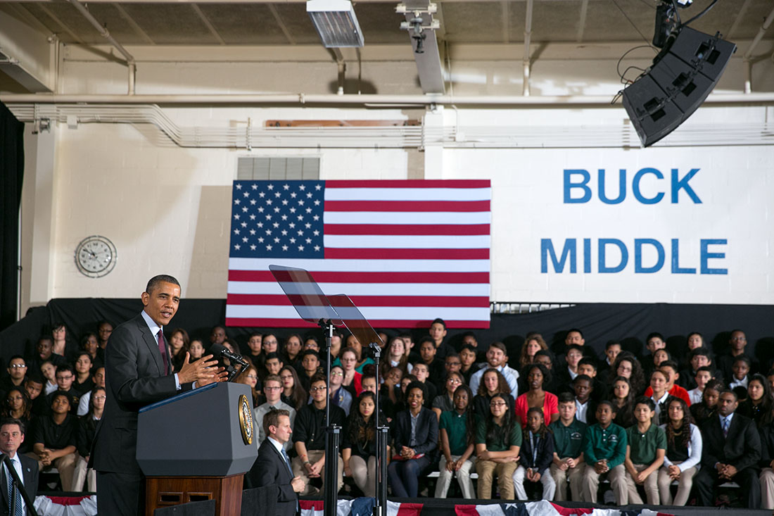President Barack Obama delivers remarks on ConnectED at Buck Lodge Middle School