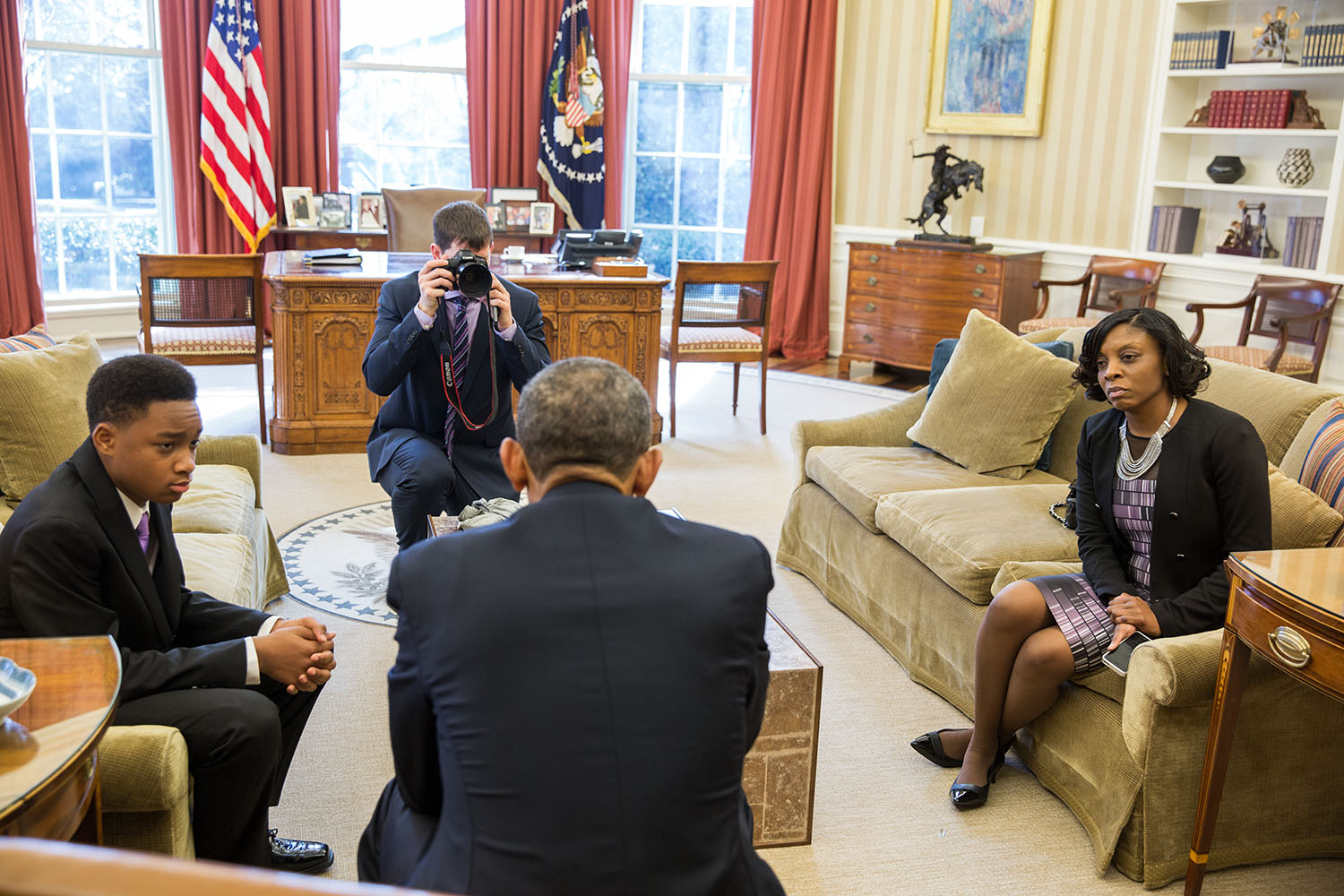 President Obama meets with Vidal and Nadia for