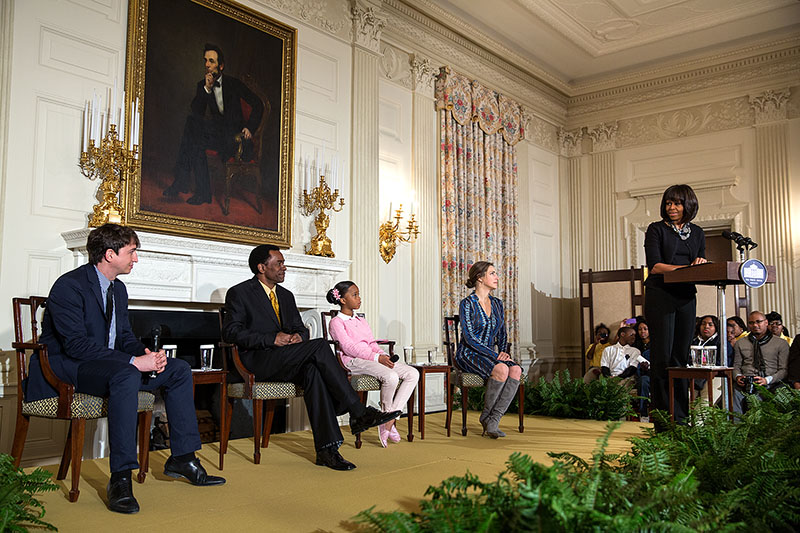 "First Lady Michelle Obama hosts a ""Beasts of the Southern Wild"" movie workshop at the White House, Feb. 13, 2013"