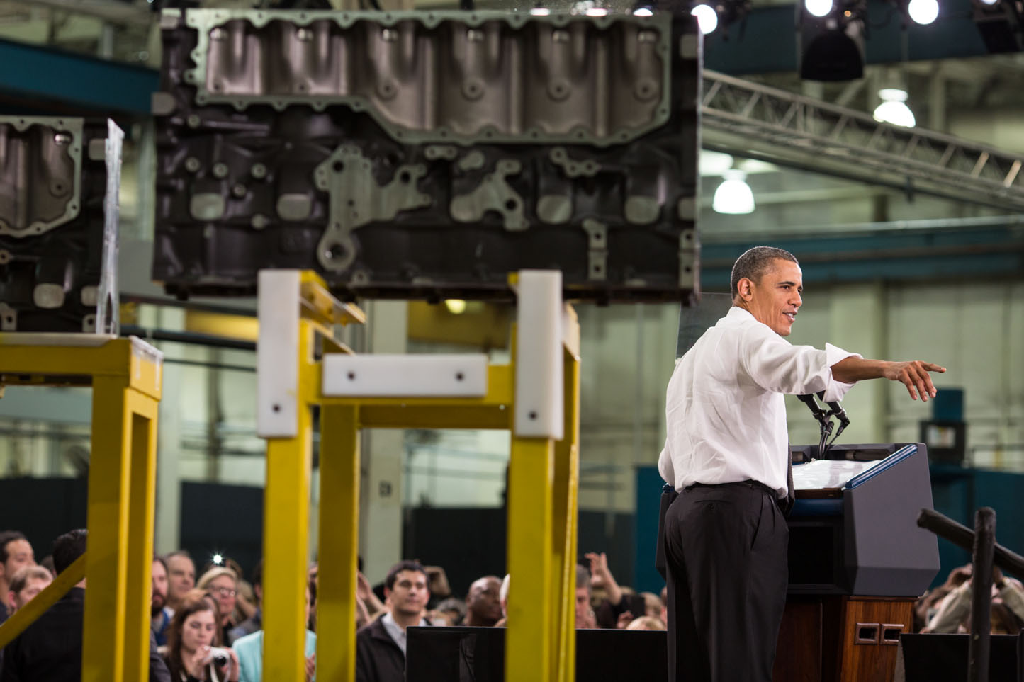President Barack Obama delivers remarks regarding manufacturing policy