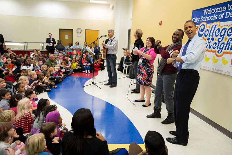 President Obama sings with the students at the College Heights Early Childhood Learning Center, Feb. 14, 2013