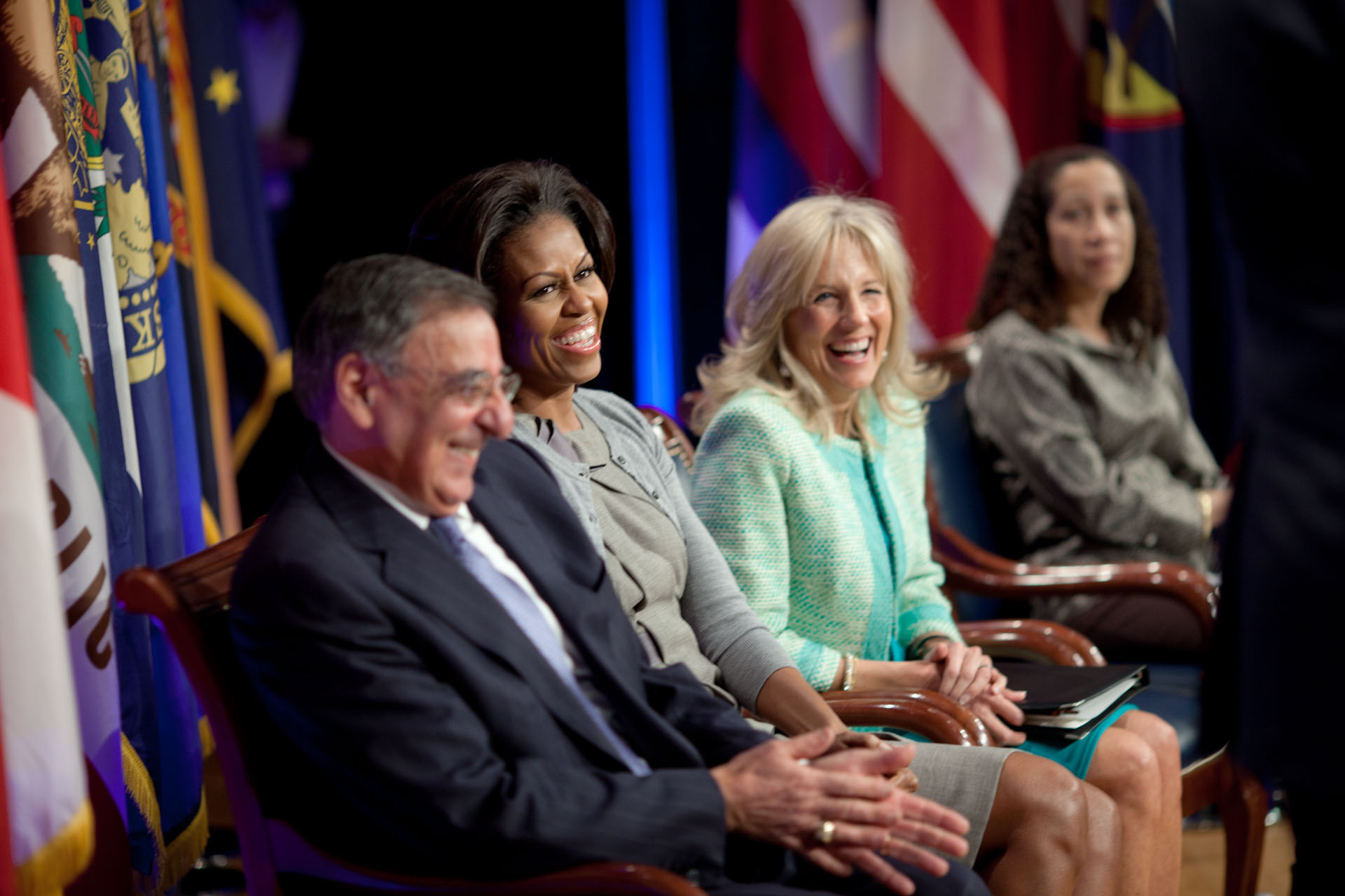 First Lady Michelle Obama and Dr. Jill Biden at a Joining Forces military spouse employment event