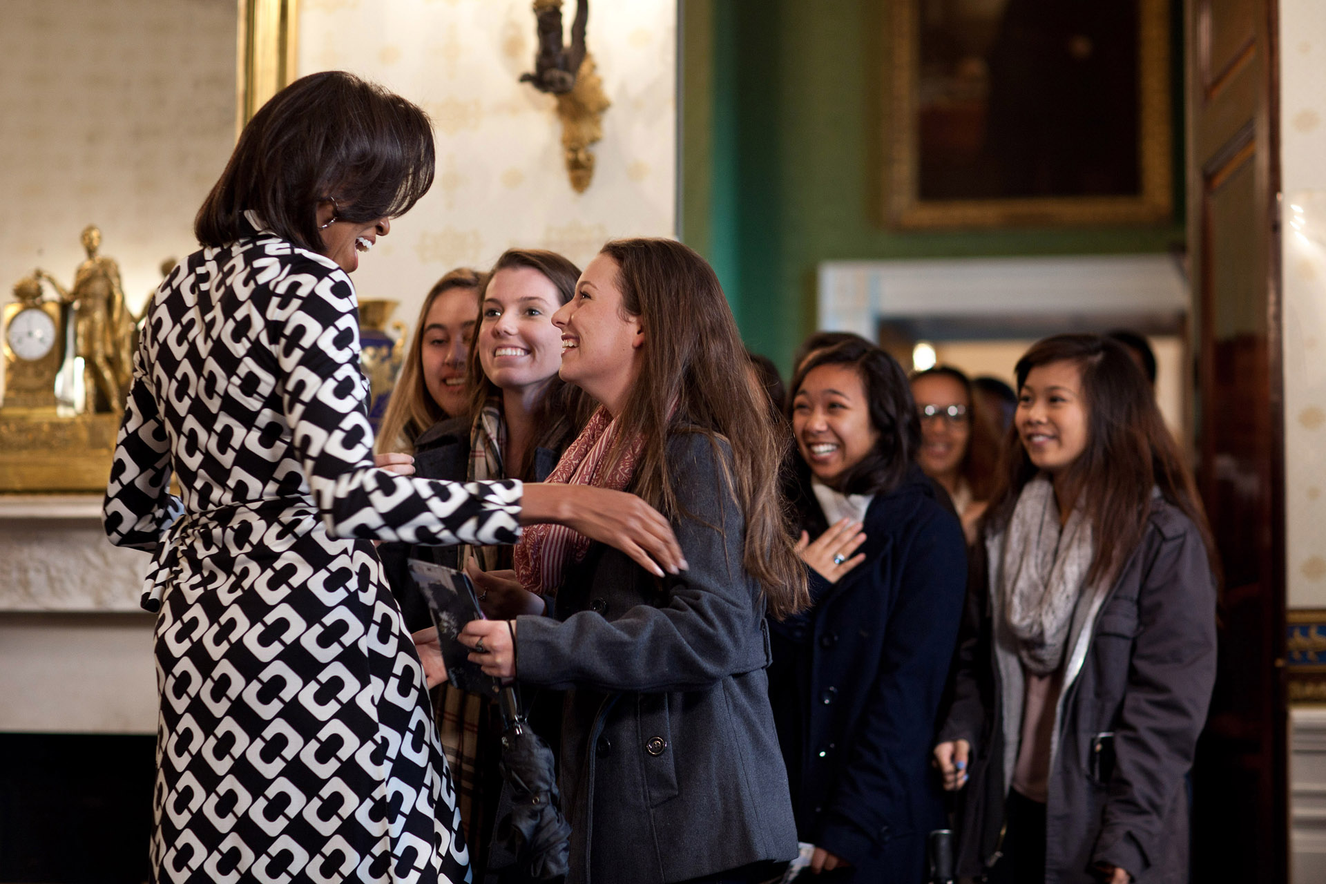 First Lady Michelle Obama Greets a Group of White House Visitors
