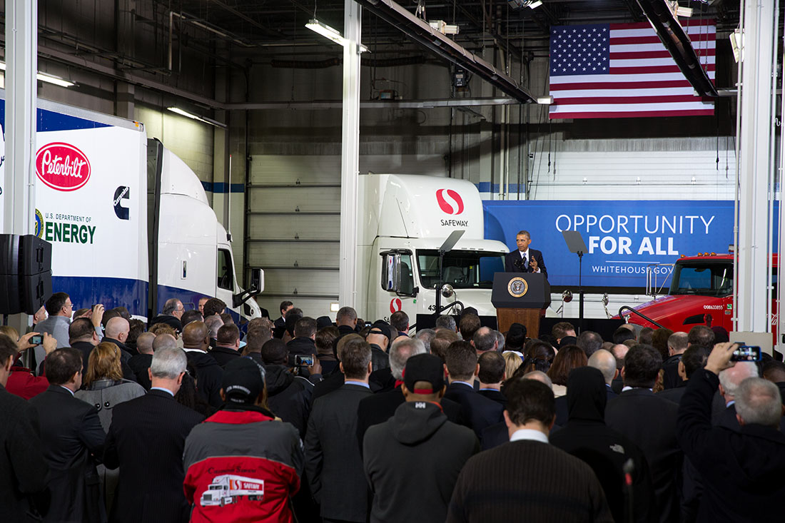 President Barack Obama delivers remarks on improving the fuel efficiency of American trucks, at the Safeway Distribution Center