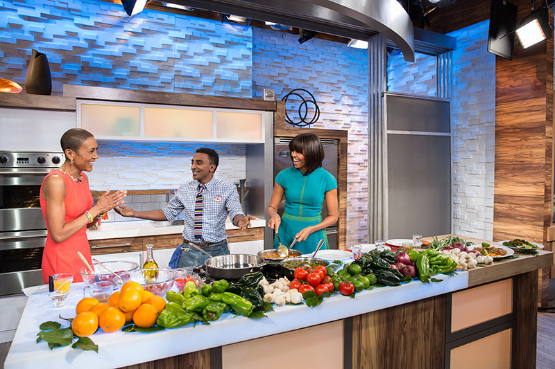 First Lady Michelle Obama with Robin Roberts and Marcus Samuelsson on Good Morning America