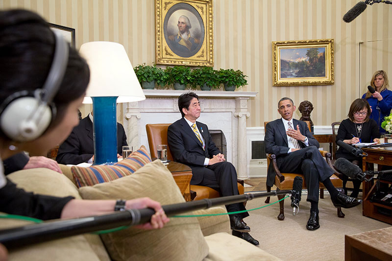 President Barack Obama and Prime Minister Shinzo Abe of Japan deliver press statements