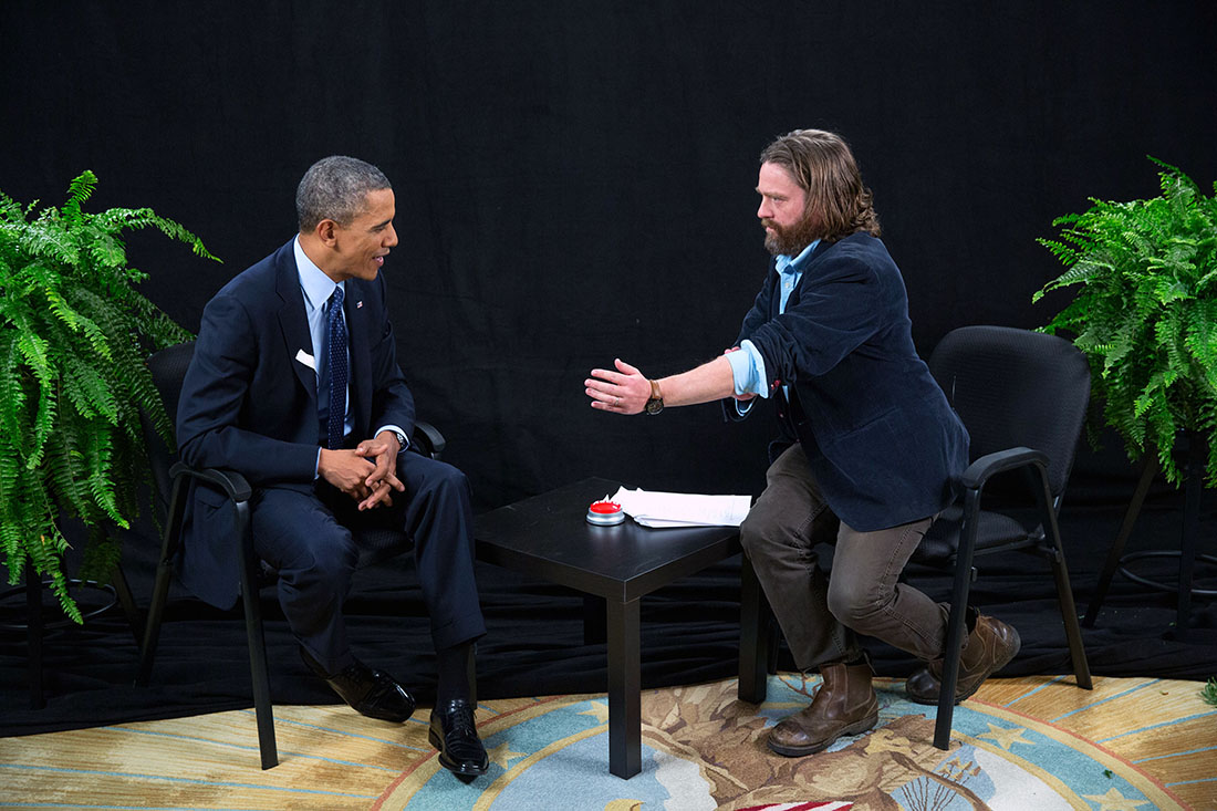 President Barack Obama participates in an interview with Zach Galifianakis for