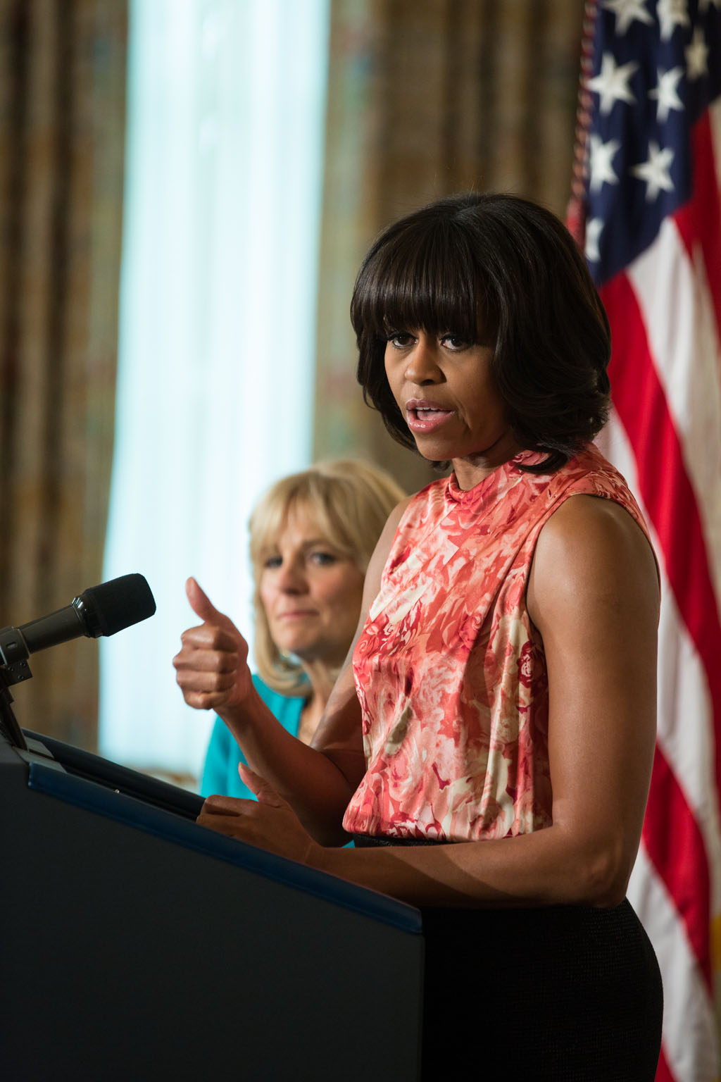 First Lady Michelle Obama and Dr. Jill Biden address the National Governors Association meeting, Feb. 25, 2013.