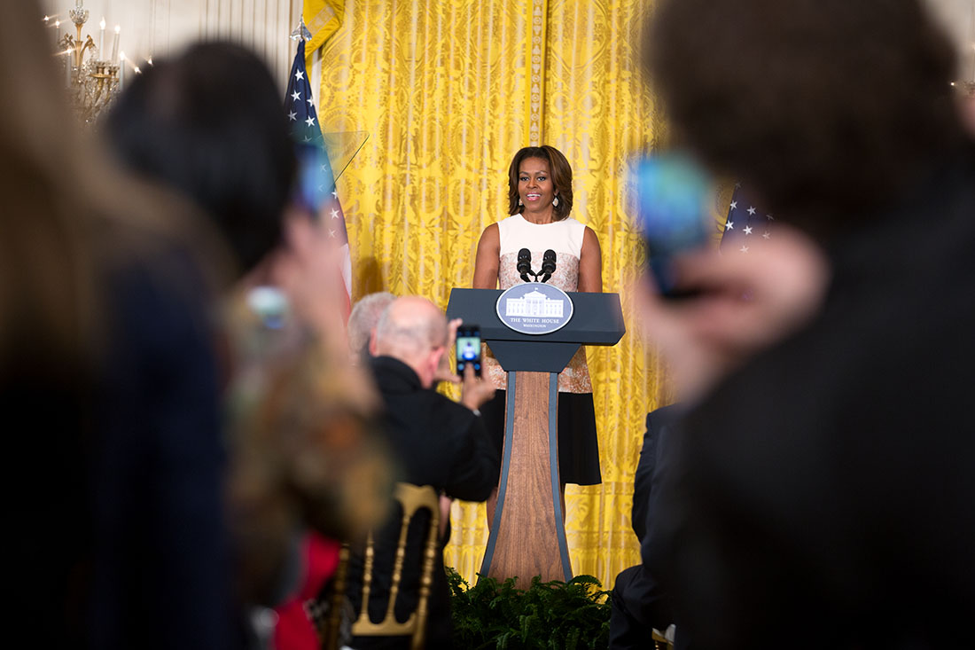 First Lady Michelle Obama delivers remarks during a