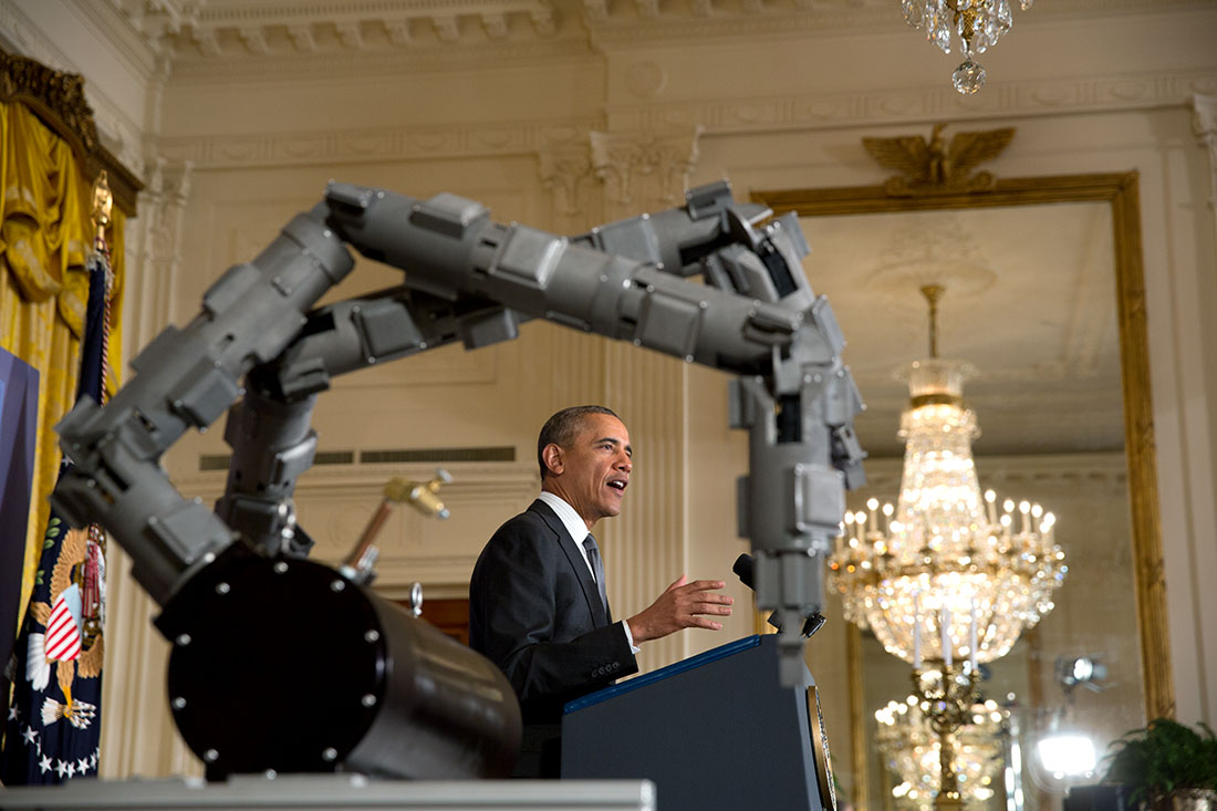 President Barack Obama delivers remarks announcing two new public-private Manufacturing Innovation Institutes, and launches the first of four new Manufacturing Innovation Institute Competitions