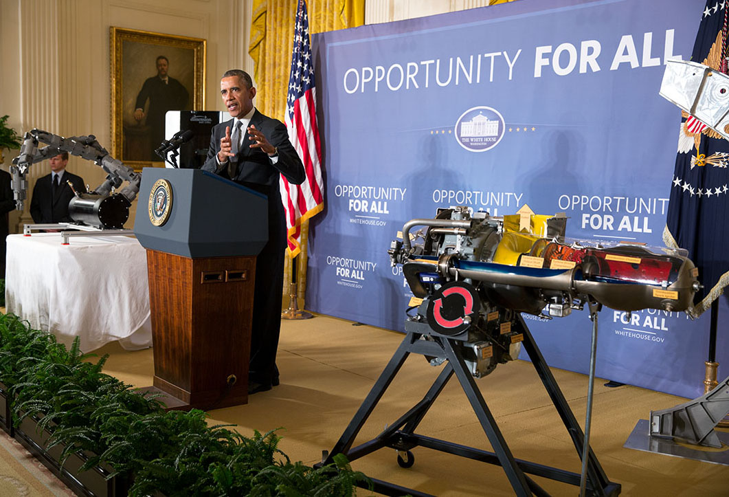President Barack Obama delivers remarks announcing two new public-private Manufacturing Innovation Institutes, and launches the first of four new Manufacturing Innovation Institute Competitions 2