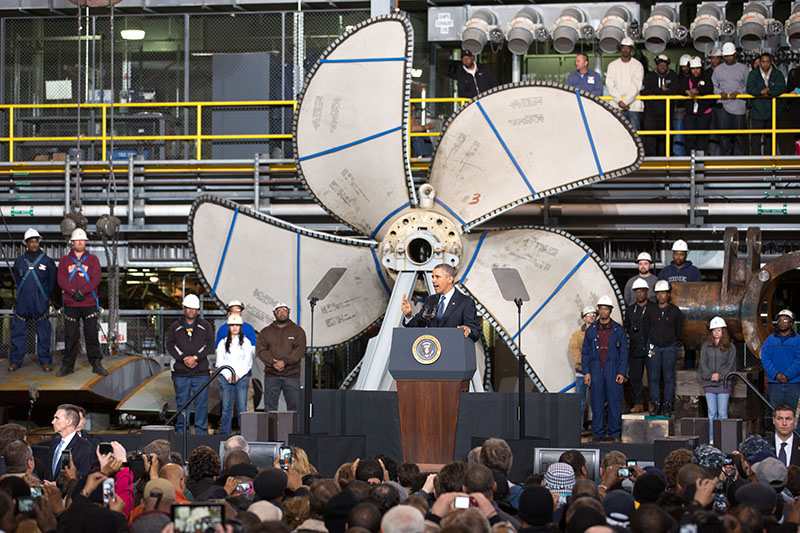 President Barack Obama at Newport News Shipbuilding in Newport News, Va., Feb. 26, 2013