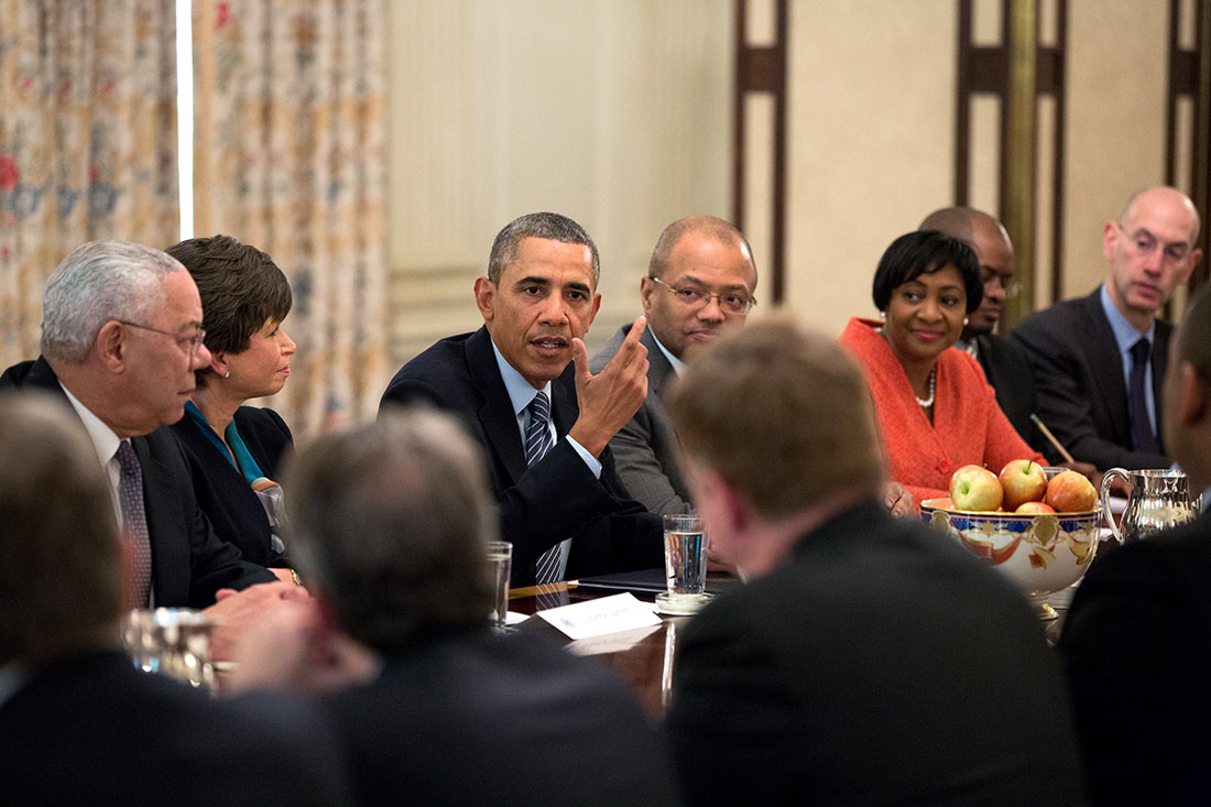 President Barack Obama meets with foundation and business leaders to discuss