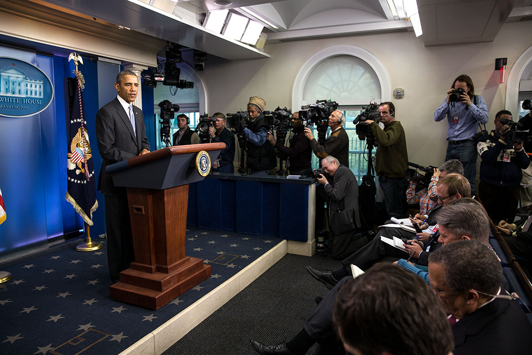 President Barack Obama delivers a statement on Ukraine in the James S. Brady Press Briefing Room