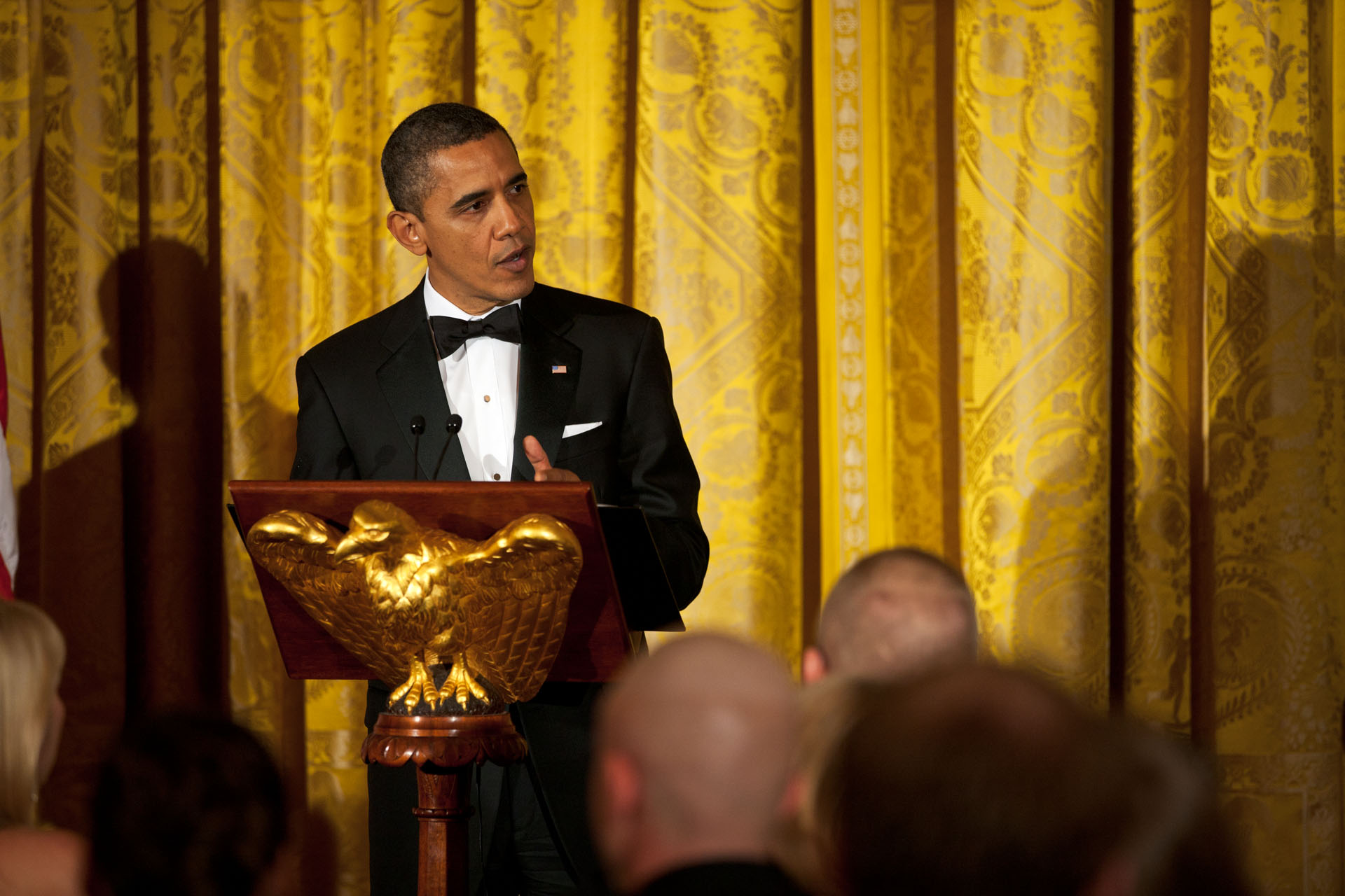 President Barack Obama delivers remarks at a dinner to honor Iraq War Veterans