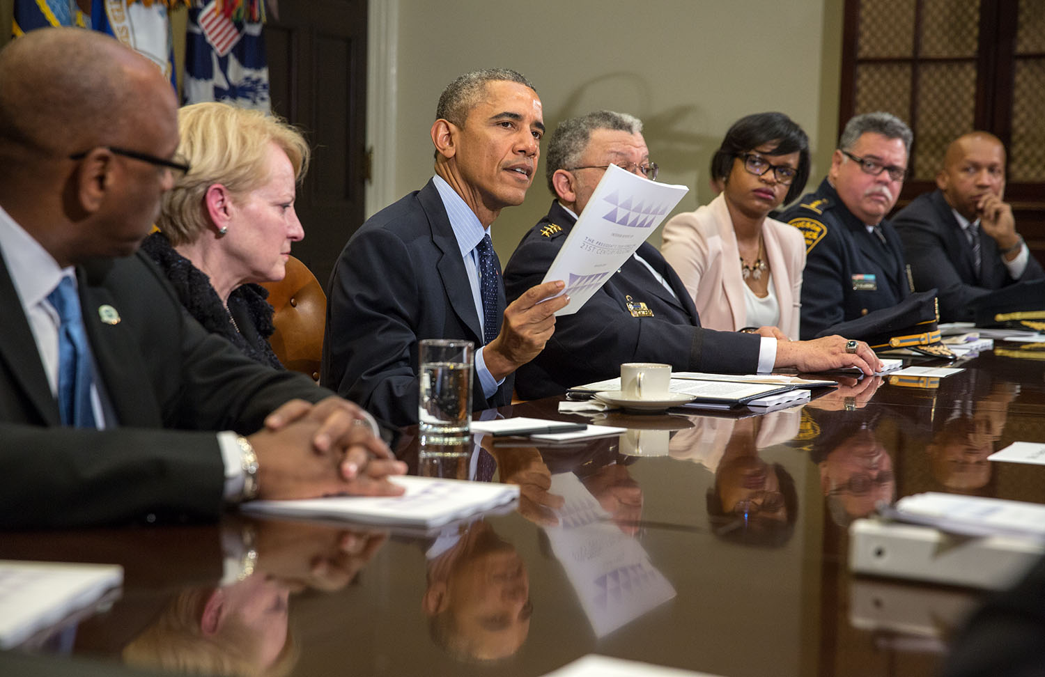 President Obama speaks to the press after a meeting with members of the Task Force on 21st Century Policing